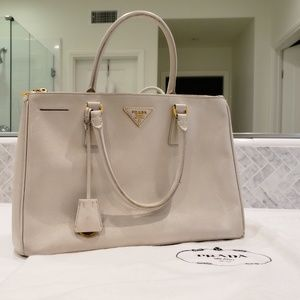 Authentic Prada Large Saffiano Lux Tote Ivory